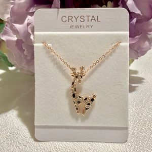 Jewelry - 18K Gold Plated Crystal Giraffe Necklace